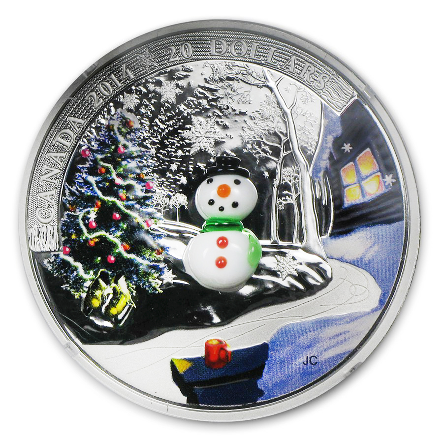 2014 Canada 1 oz Silver $20 Venetian Glass Snowman Proof